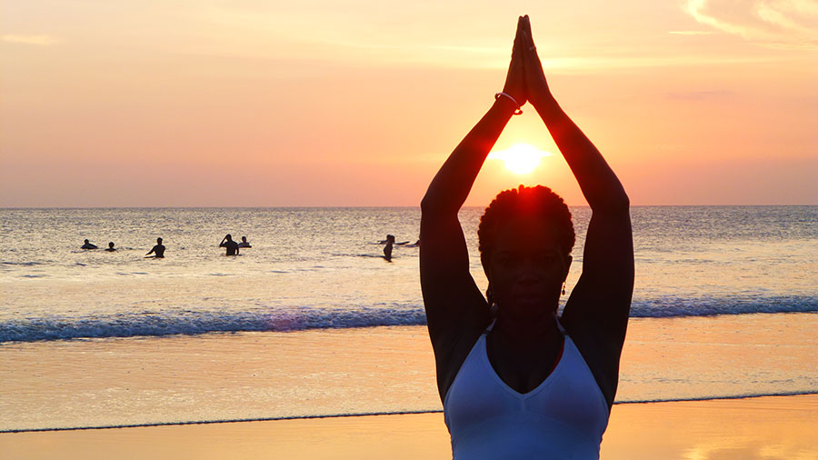 Informative Blogs On Yoga Meditation And Mindfulness Janet Haughton Quarshie In A Tree Pose In Kerala