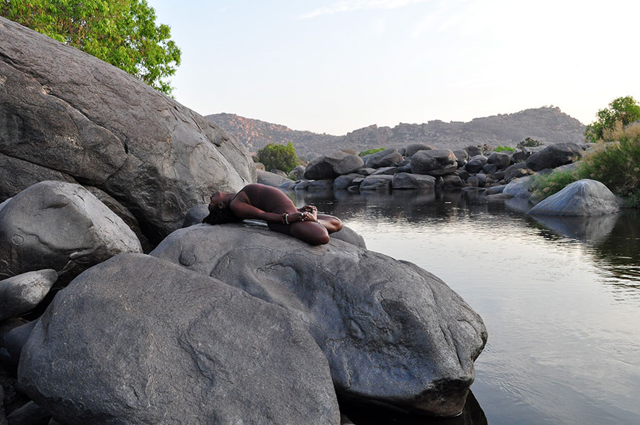 Janet Haughton Quarshie In A Yoga Pose In Hampi