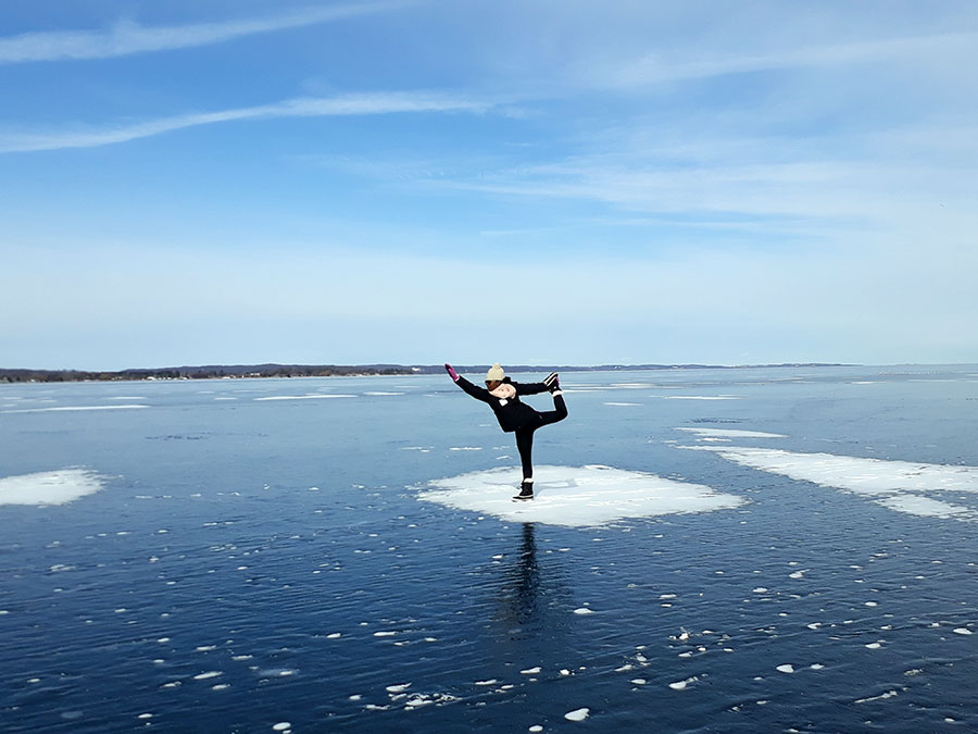 Informative Blogs On Yoga Meditation And Mindfulness Janet Haughton Quarshie In A Natarajasana Yoga Pose On Frozen Lake In Traverse City