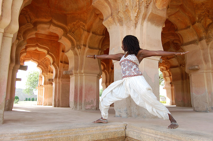 Janet Haughton Quarshie In A Warrior Pose In A Temple In Hampi