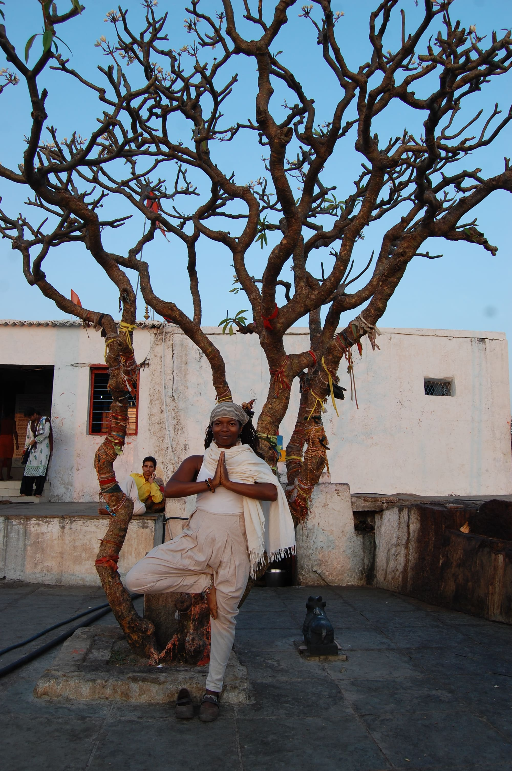 Janet Haughton Quarshie In A Tree Pose At Hanuman Temple
