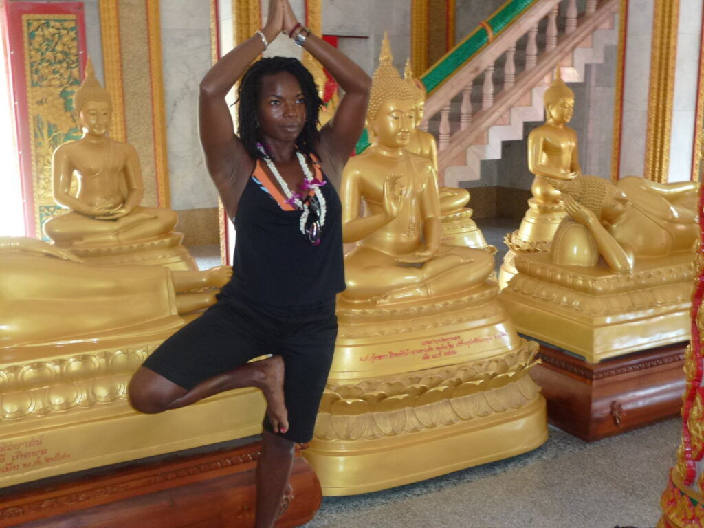 Informative Blogs On Yoga Meditation And Mindfulness Janet Haughton Quarshie In A Tree Pose In The Golden Temple